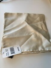 SAKS FIFTH AVENUE Mens Pocket Square, 100% Silk, Ivory, Hanky Handkerchief, NEW