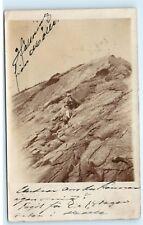 *1911 Sweden Hoganas? Men Sitting on Rock Mountain Vintage Photo Postcard C62