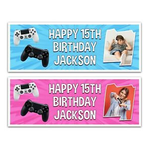 PERSONALISED PS4 CONTROLLER HAPPY BIRTHDAY BANNER CELEBRATION WALL DECORATIONS