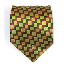 Cravatta uomo in seta colore giallo-oro a linee oblique verdi e fuxia - Jacqua
