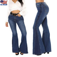 US Women's Denim Jeans High Waist Flare Wide Leg Trousers Bell Bottom Pants S-XL