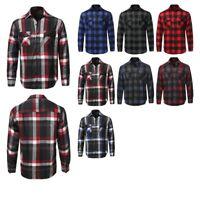 FashionOutfit Men's Casual Flannel Long Sleeves Plaid Checker Shirt (M to 5XL)