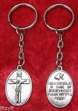 I am Catholic Notify a Priest Awareness Key Ring Crucifix Emergency Call Keyring