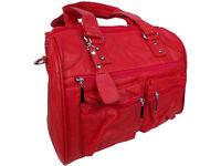 Damen Handtasche Rot Giuliano Groß Schulter-Handtrageriemen 38x 30x21 Kunstleder