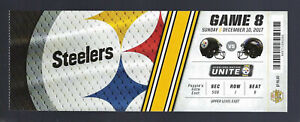 ROETHLISBERGER 506 YARDS - 2017 NFL RAVENS @ PITTSBURGH STEELERS FULL TICKET