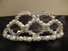 Handmade Swarovski Crystal Elements Tiara Wedding Bridal Sparkly AB Ivory Pearls