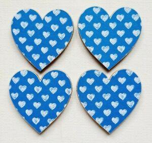 Handmade Set of 4 Wooden Heart Fridge Magnets Gorgeous Blue Sketched Heart Print