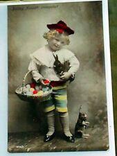 Early German Postcard Enlarged Reprint 7 x 9 1/2 Boy & Easter Eggs Steiff Rabbit