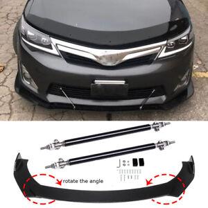 For Toyota Camry Corolla Glossy Front Bumper Lip Spoiler Splitter + Strut Rods