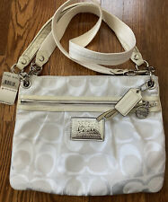 COACH POPPY SIGNATURE SATEEN SHOULDER BAG; NWT Retail 198.00