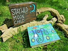 Hand Made Carved Wooden Hope Wild Moon Child Trinket Jewellery Hinged Lid Box