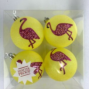 Flamingo Neon Yellow Lot of 4 Shatter proof Christmas Ornaments Lightweight Ball