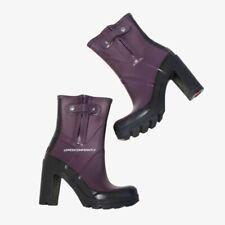 $240 Hunter Original Contrast High Heel Boots, Black/Purple, 8