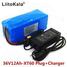 Electric Bike Battery 36V 12Ah 12000mAh XT60 Plug 20A BMS Li-ion Pack + Charger