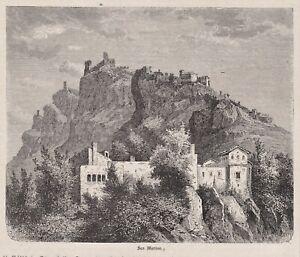 San Marino - Gesamtansicht mit Festung - Stich, Holzstich um 1880