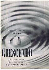 PUBLICITE ADVERTISING 104 1960 LANVIN parfums présente 'Crescendo'