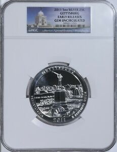 2011 Gettysburg America The Beautiful ATB 5 oz 999 Silver NGC Early Releases Gem