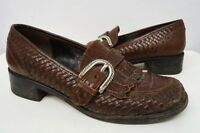 Brighton woven brown leather loafers shoes sz 6.5 M womens #242