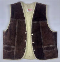 Vintage 1970s Genuine Leather Brown Suede Snap Front Fleece Lined Vest S/M