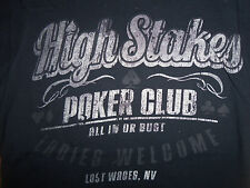 """High Stakes Poker Club """"Ladies Welcome"""" Navy Graphic Print T Shirt - S"""