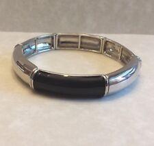 LIA SOPHIA Signature Stretch Bracelet SILVER BLACK ENAMEL Designer SIGNED   #77