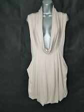 MYRINE & ME Stretch Tunic Dress Size XS Beige Cowl Neck Pockets Lagenlook Jersey