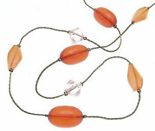 Matching Necklace and earrings orange plastic bead design IAS239