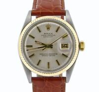 Rolex Datejust Mens 2Tone 14K Yellow Gold & Stainless Steel Watch w/ Silver Dial