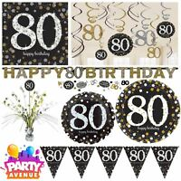Gold Sparkling Celebration 80th Birthday Party Tableware Decorations Balloons