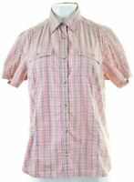 COLUMBIA Womens Shirt Short Sleeve Size 14 Medium Pink Check Cotton  BZ09
