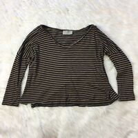 Zara Trafaluc Top Size SMALL Oversized Crop Brown Black Striped Womens S