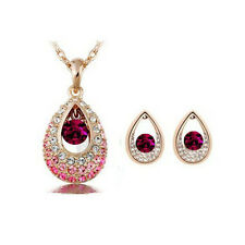Fashion 18k Gold Teardrop Pink Elegant Rhinestone Crystal Earrings Necklace Set