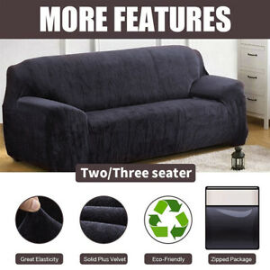 Stretch Protector Soft Couch Cover UK Sofa Covers Easy Fit  Thick Plush Velvet