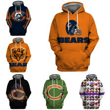 Chicago Bears Football Fans Hoodie Hooded Sweatshirt Print Sport Casual Jacket