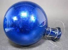 Kobaltblaue Rosenkugel,  19.Jh. Mundgeblasenes Glas. Aufgelegter Halsring.