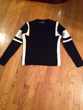 Women's James Campion Long Sleeve PullOver Sweater Size S BK/Off White