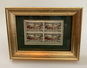 Christmas Postage Stamp Block 10 Cent Holiday Decor Framed Sleigh Ride Winter