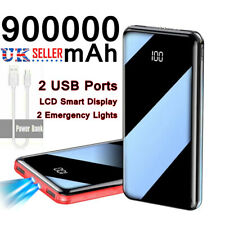 900000mAh Power Bank 2 USB LED Backup Battery Pack Charger for Mobile Phone X XS