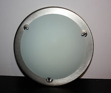 BRUSHED STEEL AND GLASS WALL OR CEILING LIGHT30CM ROUND ITALIAN 60W MAX USED