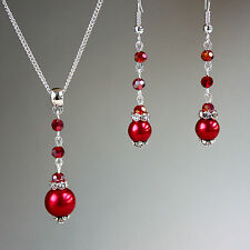 Red crystals pearls necklace earrings wedding bridesmaid silver jewellery set