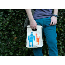 Graze® Organic Cotton Lunch Bag,Totes,Washable,Reusable, Robot, Adult/Child,New