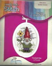 "Counted Cross Stitch Kit GARDEN GNOME Oval Frame 2.75"" Ornament Ornaments"