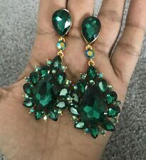 "3"" Green Emerald Gold Long Rhinestone Crystal Pageant Dangle Earrings Clip On"