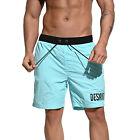 DESMIIT Men's Simple Loose Board Shorts Fashion Sports shorts elasticated Belt