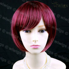 Heat Resistant Burgundy Red Mix Short Bob Skin Top Ladies Wig From WIWIGS UK