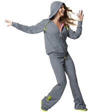 ZUMBA FITNESS 2 Piece Set!! TRACK PANTS LT.SWEATS & JACKET HOODIE CONVENTION S