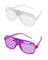 1 White 1 Purple Flashing LED Shutter Glasses Light Up Slotted Party Glow Shades