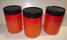 ANCHOR HOCKING FIRE KING CANISTER 3CT__COLORED MILK GLASS_ RED MATCHED SET -RARE