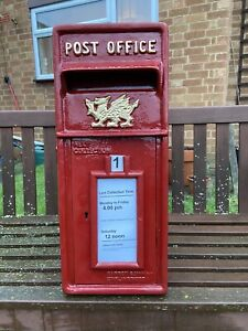 Postbox Letter Post Box - Cast Iron - Red with Welsh Dragon - Large - Base Mount