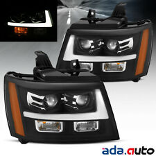 2007-2014 Chevy Suburban/Tahoe/Avalanche Black LED Bar Projector Headlights Set